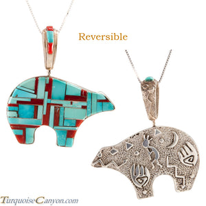 Navajo Native American Turquoise Bear Pendant Necklace SKU225554