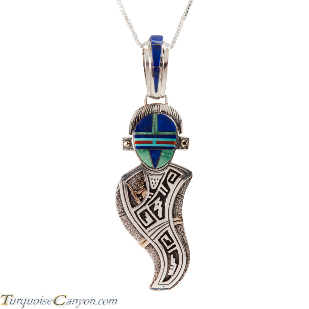 Navajo Native American Turquoise Lapis Corn Maiden Pendant Necklace SKU225557