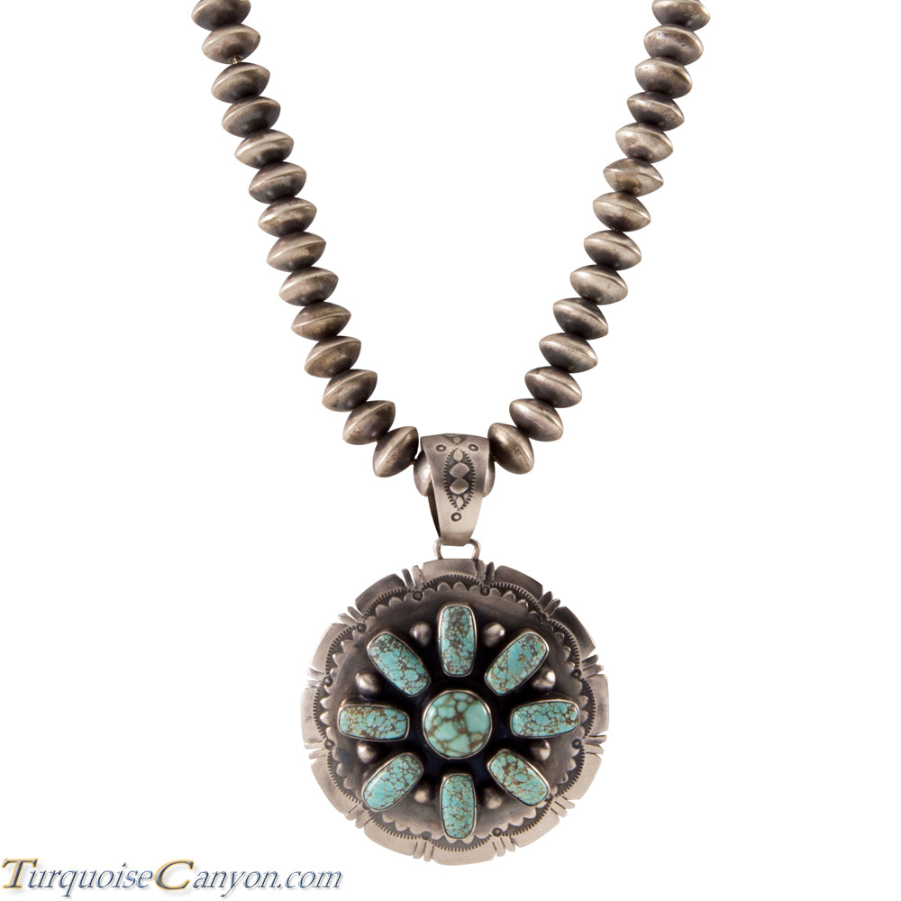Navajo Native American Mine Number 8 Turquoise Pendant w Necklace SKU225568