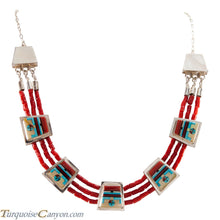 Load image into Gallery viewer, Zuni Native American Coral Necklace Earrings Raylan & Patty Edaakie SKU225596