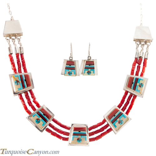 Zuni Native American Coral Necklace Earrings Raylan & Patty Edaakie SKU225596