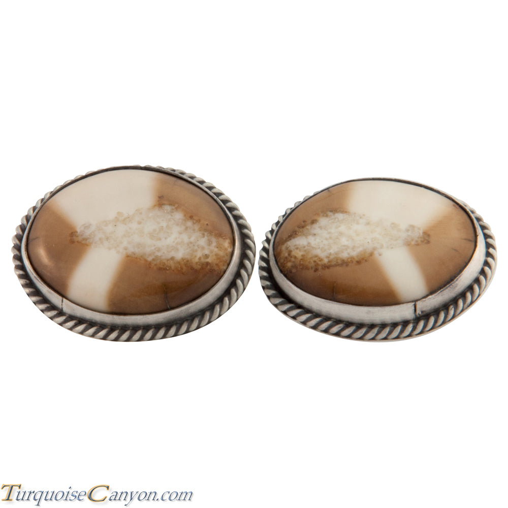 Navajo Native American Fossilized Walrus Ivory Cuff Links by Willeto SKU225638