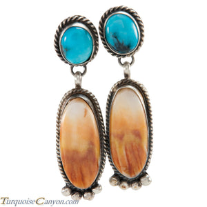 Navajo Native American Orange Shell and Turquoise Earrings by Warner SKU225677