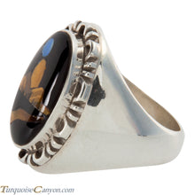 Load image into Gallery viewer, Navajo Native American Onyx and Tiger Eye Ring Size 11 by Yazzie SKU225703