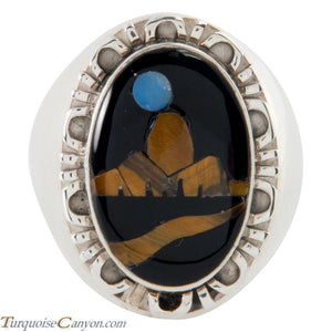 Navajo Native American Onyx and Tiger Eye Ring Size 11 by Yazzie SKU225703
