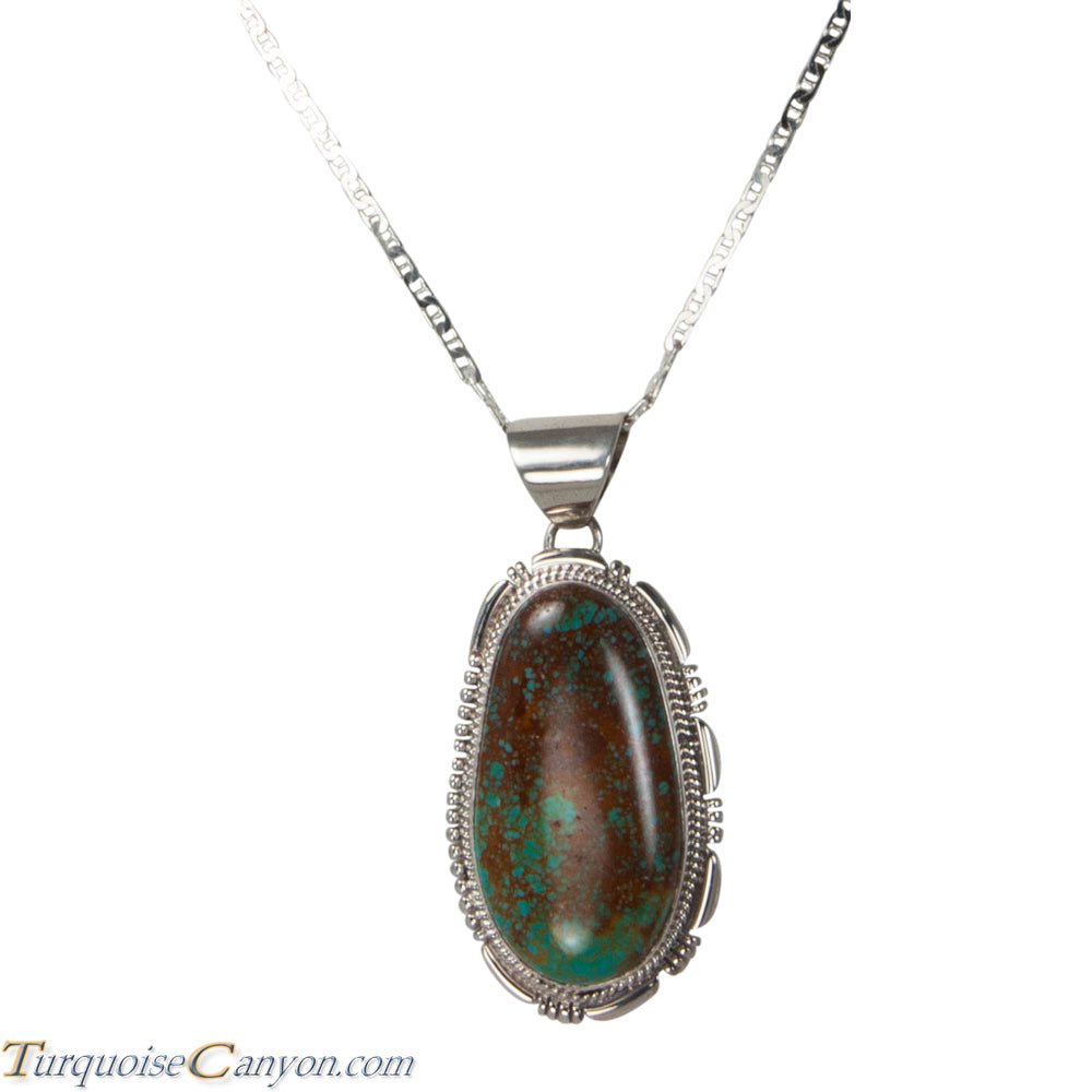 Navajo Native American King Manassa Turquoise Pendant Necklace SKU225710