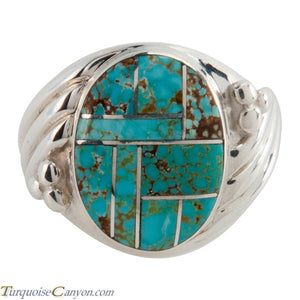 Navajo Native American Mine Number 8 Turquoise Inlay Ring Size 11 SKU225731