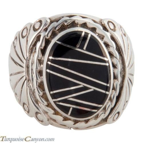 Navajo Native American Onyx Inlay Ring Size 8 1/2 by Quintana Lewis SKU225764