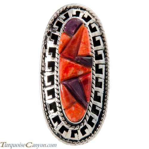 Navajo Native American Purple and Orange Shell Ring Size 8 1/2 SKU225765