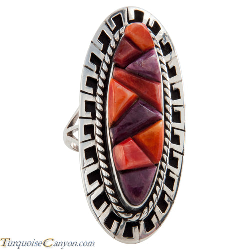 Navajo Native American Purple and Orange Shell Ring Size 7 1/2 SKU225767