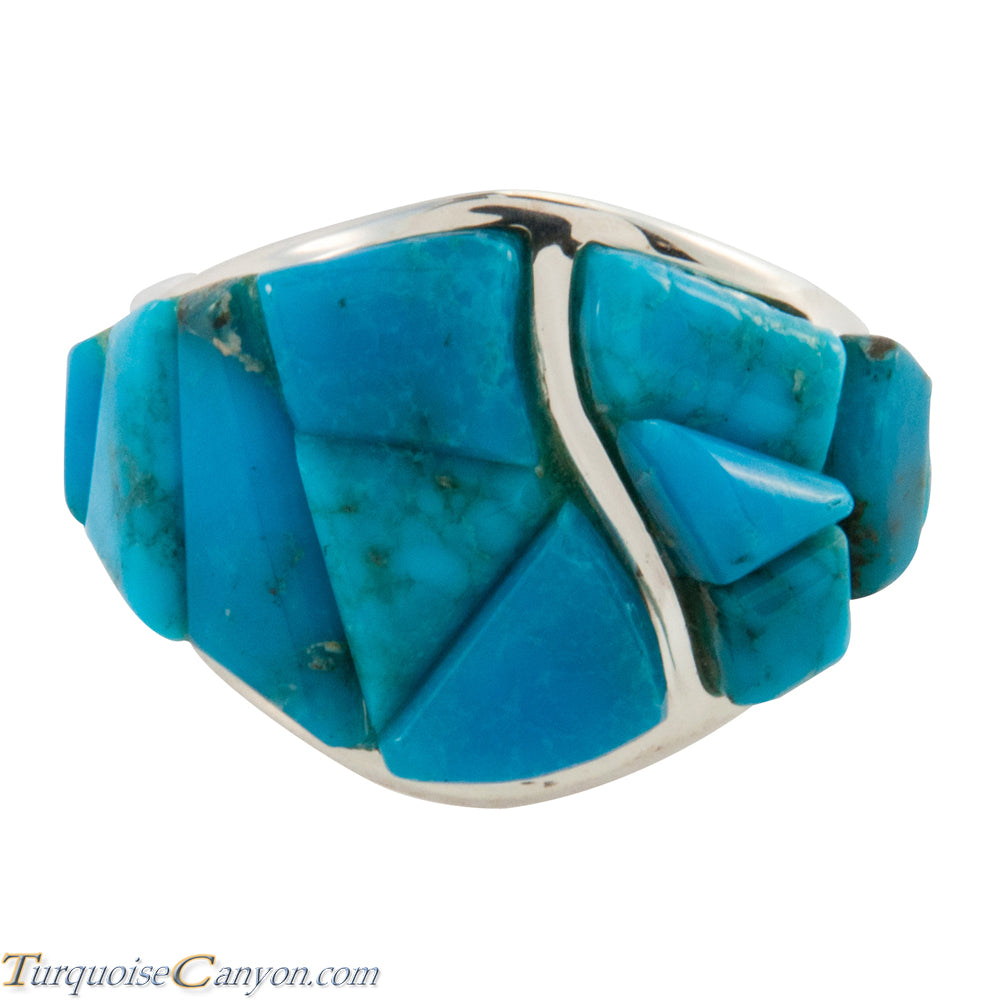Navajo Native American Kingman Mine Turquoise Ring Size 10 by Yazzie SKU225770