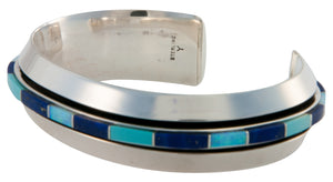 Navajo Native American Turquoise Lab Opal & Lapis Inlay Bracelet SKU225786