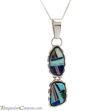 Load image into Gallery viewer, Navajo Native American Turquoise and Lab Opal Inlay Pendant Necklace SKU225823