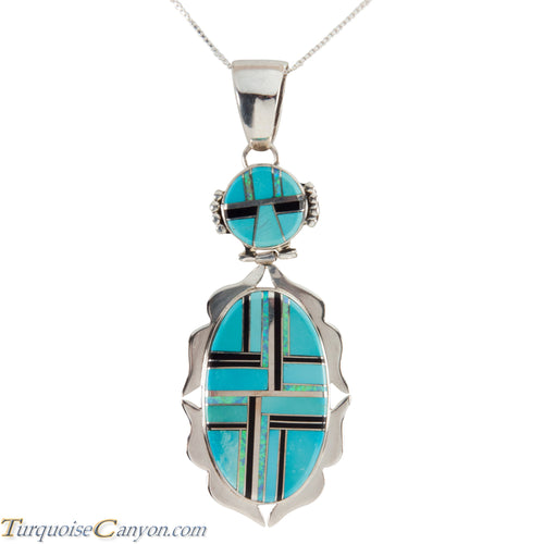 Navajo Native American Turquoise and Lab Opal Pendant Necklace SKU225824