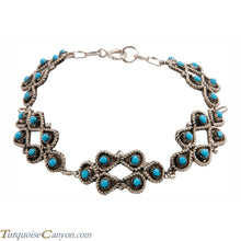 Load image into Gallery viewer, Zuni Native American Petit Point Turquoise Link Bracelet SKU225865