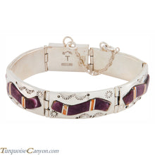 Load image into Gallery viewer, Navajo Native American Orange and Purple Shell Link Bracelet SKU225893