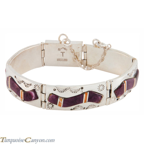 Navajo Native American Orange and Purple Shell Link Bracelet SKU225893