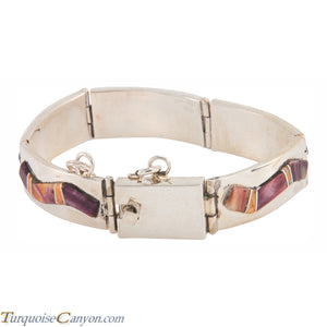 Navajo Native American Orange and Purple Shell Link Bracelet SKU225894
