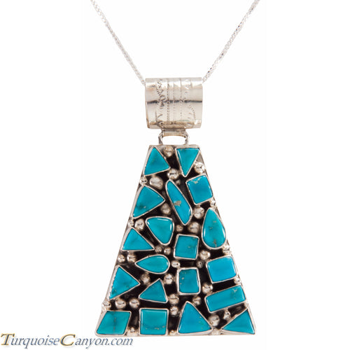 Navajo Native American Kingman Mine Turquoise Pendant Necklace SKU225915