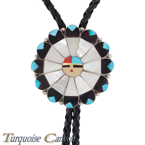 Dead Pawn Zuni Shell and Turquoise Sunface Bolo Tie by Rose Tekela SKU225922
