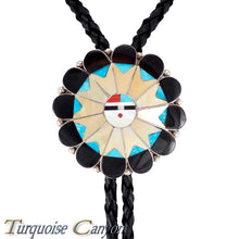 Load image into Gallery viewer, Dead Pawn Zuni Turquoise and Yellow Shell Sunface Bolo Tie by Tekela SKU225924