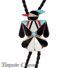 Load image into Gallery viewer, Dead Pawn Zuni Turquoise and Shell Thunderbird Bolo Tie SKU225927