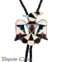 Load image into Gallery viewer, Dead Pawn Zuni Turquoise Thunderbird Bolo Tie by Rose Tekela SKU225929