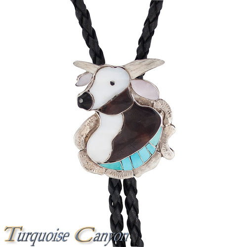 Dead Pawn Zuni Turquoise Inlay Steer Head Bolo Tie by Dean Qualo SKU225930