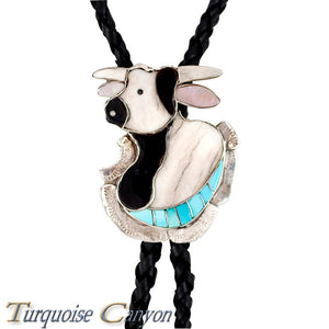 Dead Pawn Zuni Turquoise Inlay Steer Head Bolo Tie by Dean Qualo SKU225931