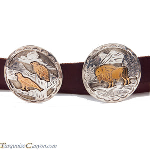 Navajo Native American Eagle Silver Gold Concho Belt SKU225935