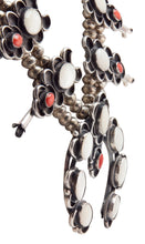 Load image into Gallery viewer, Dead Pawn Squash Blossom Necklace with Mother of Pearl and Coral SKU225940