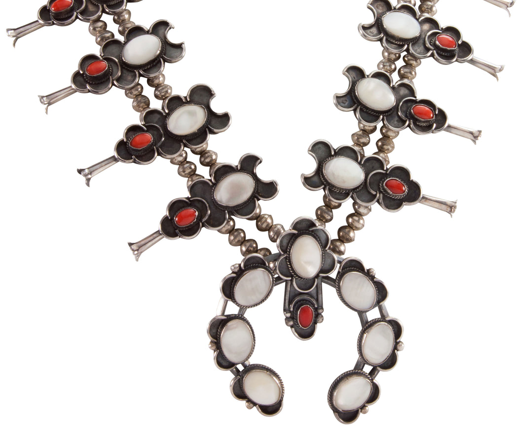Dead Pawn Squash Blossom Necklace with Mother of Pearl and Coral SKU225940