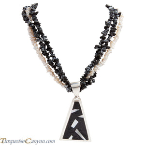 Navajo Native American Mother of Pearl and Onyx Necklace Pendant SKU225949