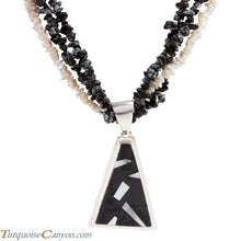 Load image into Gallery viewer, Navajo Native American Mother of Pearl and Onyx Necklace Pendant SKU225949