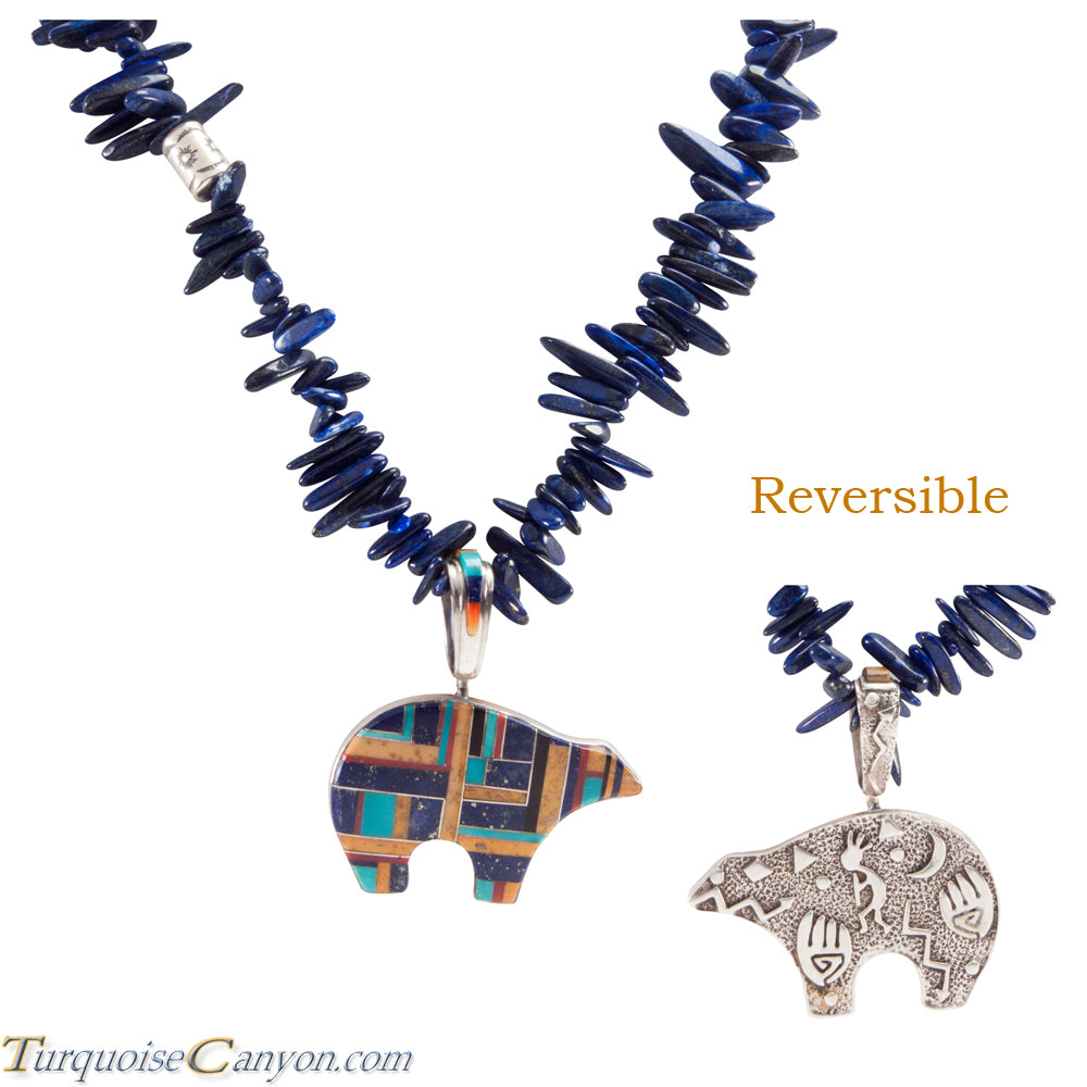 Navajo Native American Turquoise & Lapis Bear Pendant and Necklace SKU225953