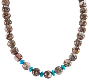 Navajo Native American Magnesite and Turquoise Necklace SKU225954