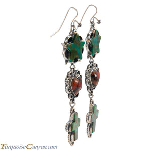 Navajo Native American Turquoise and Coral Earrings by Willeto SKU225961