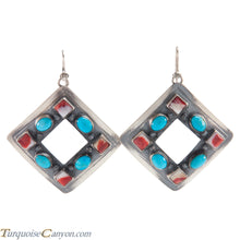 Load image into Gallery viewer, Navajo Native American Turquoise and Orange Spiny Shell Earrings SKU225976
