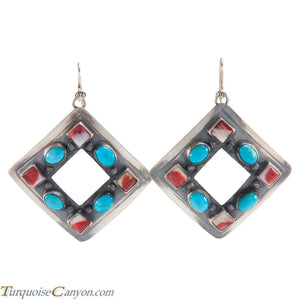 Navajo Native American Turquoise and Orange Spiny Shell Earrings SKU225976