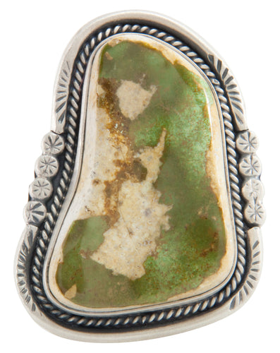Navajo Native American Cerrillos Mine Turquoise Ring Size 9 SKU226009