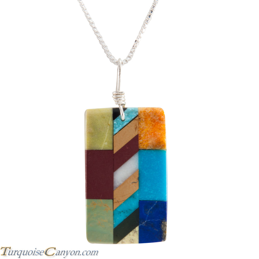 Santo Domingo Kewa Turquoise & Multi Shell Stone Pendant Necklace SKU226070