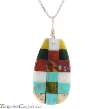Load image into Gallery viewer, Santo Domingo Kewa Turquoise & Multi Shell Stone Pendant Necklace SKU226075