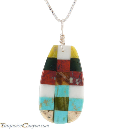 Santo Domingo Kewa Turquoise & Multi Shell Stone Pendant Necklace SKU226075
