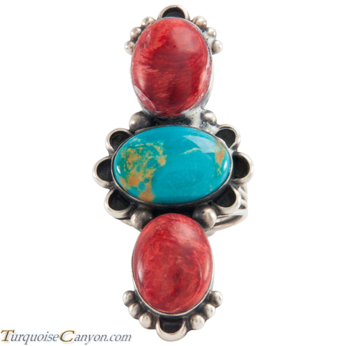 Navajo Native American Turquoise and Coral Ring Size 9 by Livingston SKU226126