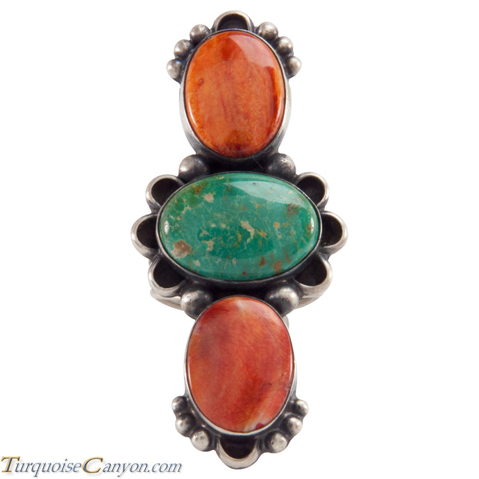 Navajo Native American Turquoise and Orange Shell Ring Size 8 SKU226127