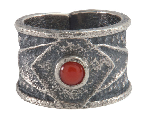 Navajo Native American Coral Tufa Cast Ring Size 7 1/2 by M Claw SKU226211