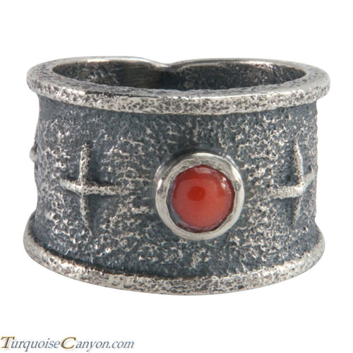 Navajo Native American Coral Tufa Cast Ring Size 7 3/4 by M Claw SKU226212