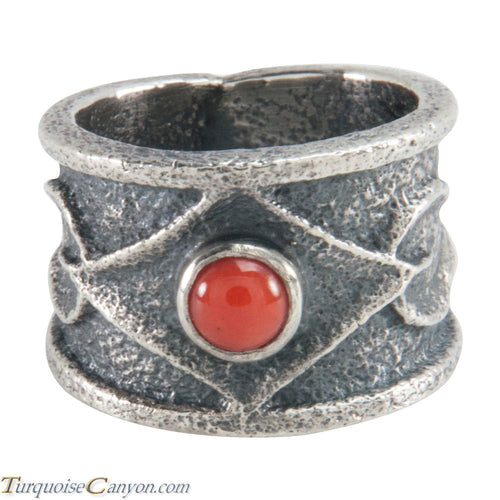 Navajo Native American Coral Tufa Cast Ring Size 6 3/4 by M Claw SKU226213