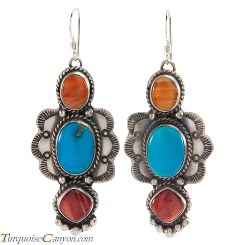 Navajo Native American Turquoise and Orange Shell Earrings SKU226271