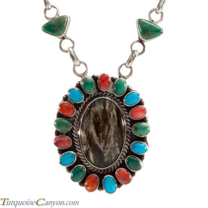 Navajo Native American Seraphinite and Turquoise Necklace by Johnson SKU226357